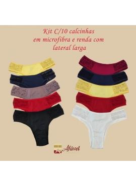 Atacado - Kit C/10 Calcinhas Em Microfibra Lateral Larga