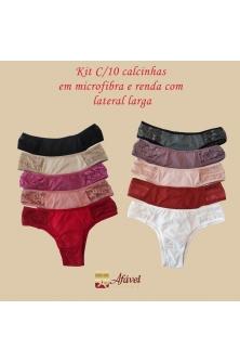 Kit C/10 Calcinhas Em Microfibra Lateral Larga