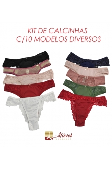 KIT C/10 CALCINHAS DIVERSAS